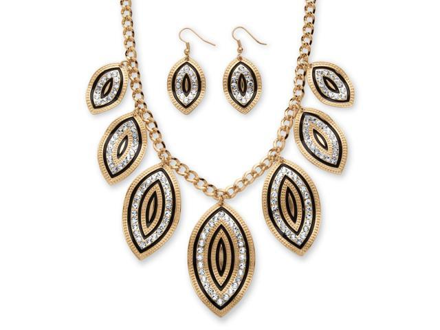 PalmBeach Jewelry Crystal and Black Enamel Leaf Motif Necklace and Earrings Set in Gold Tone