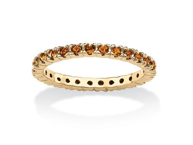 Round Birthstone 18k Gold-Plated Stackable Eternity Band - November- Simulated Citrine-51073171