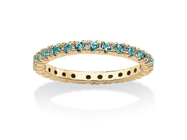 Round Birthstone 18k Gold-Plated Stackable Eternity Band - December- Simulated Blue Topaz-51073160