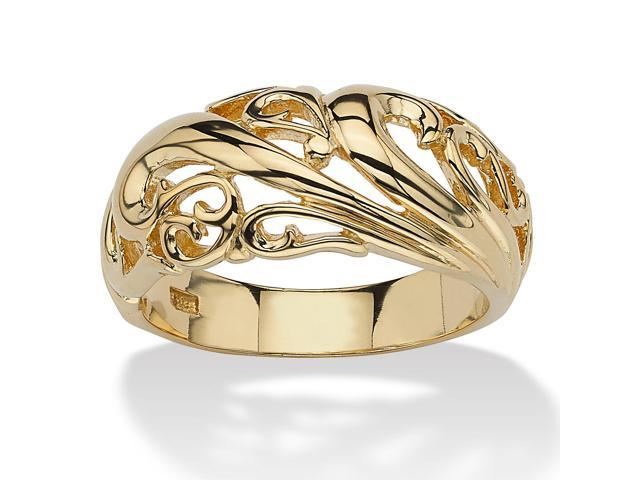 PalmBeach Jewelry 18k Gold over Sterling Silver Swirl Dome Ring
