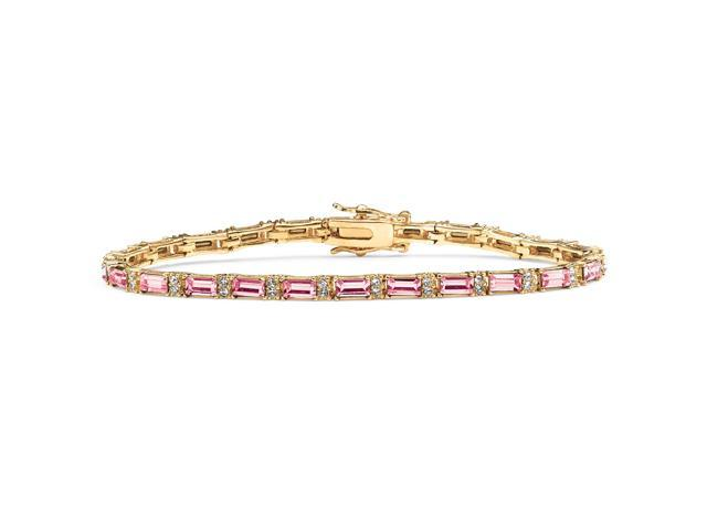 Emerald-Cut Birthstone 14k Yellow Gold-Plated Tennis Bracelet - June- Simulated Alexandrite-4985106