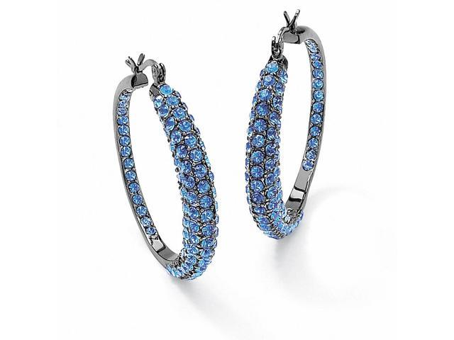 Birthstone Black Rhodium-Plated Inside-Out Hoop Earrings - March- Simulated Aquamarine-5016303