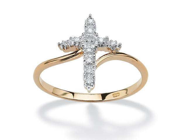 PalmBeach Jewelry White Diamond Accent Cross Ring in 18k Gold over Sterling Silver