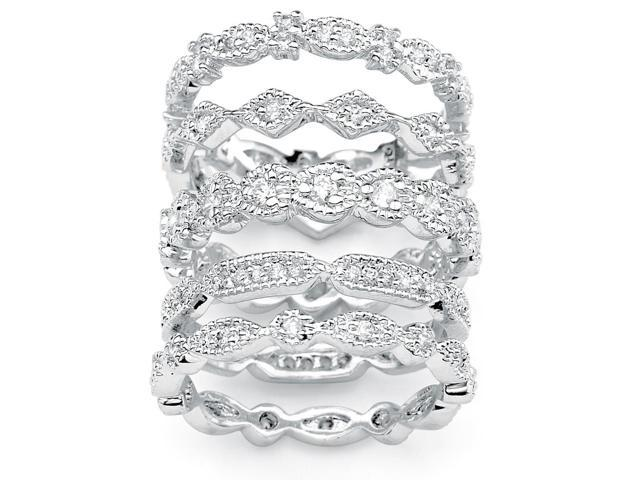 PalmBeach Jewelry 1.55 TCW Cubic Zirconia Five-Piece Stack Eternity Bands Set in Silvertone