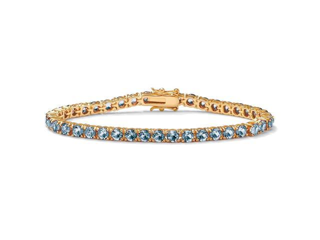 Round Birthstone Tennis Bracelet in 18k Gold-Plated - March- Simulated Aquamarine-4897003