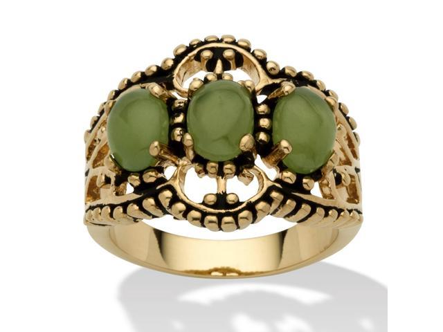 PalmBeach Jewelry Oval Genuine Green Jade Antiqued 14k Yellow Gold-Plated Triple-Stone Filigree Ring