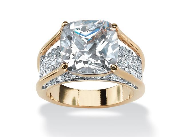 4.88 TCW Cushion-Cut White Cubic Zirconia 18k Gold-Plated Engagement Pave Bridge Ring-504547