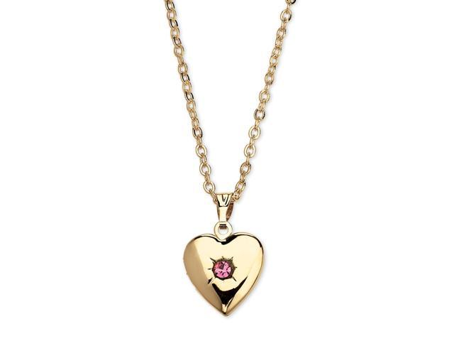 Birthstone Heart Locket Necklace in Yellow Gold Tone - October- Simulated Tourmaline