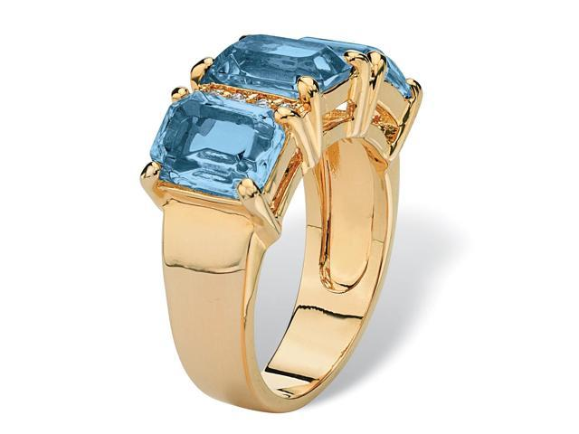 Emerald-Cut Birthstone and Cubic Zirconia 14k Gold-Plated Ring - March- Simulated Aquamarine