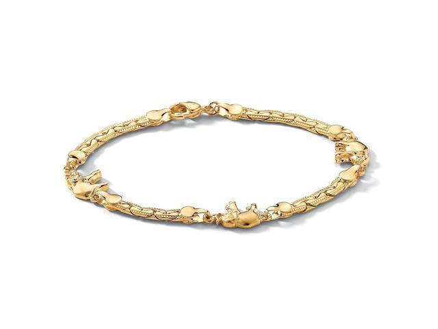 Elephant Ankle Bracelet in Yellow Gold Tone 10