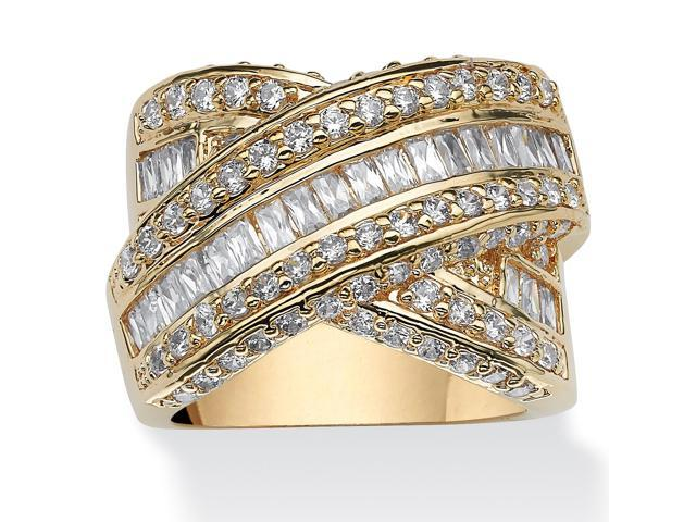 PalmBeach Jewelry 3.64 TCW Baguette Cut Cubic Zirconia 14k Yellow Gold-Plated Crossover Ring