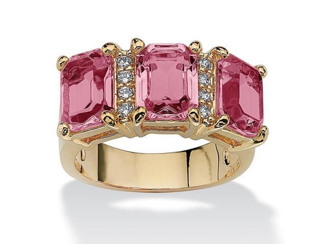 Emerald-Cut Birthstone and Cubic Zirconia 14k Gold-Plated Ring - October- Simulated Tourmaline