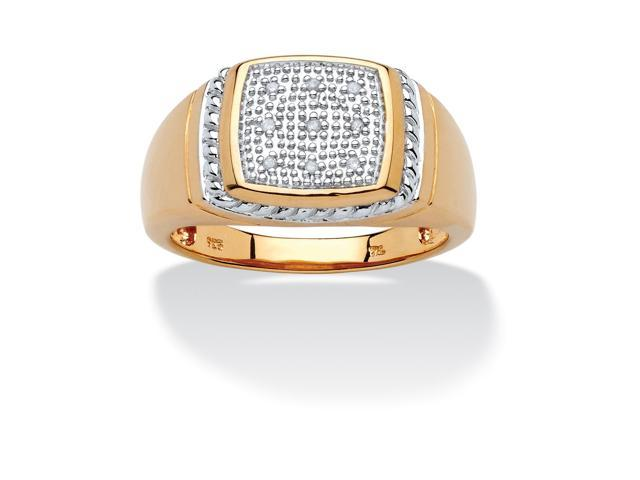 PalmBeach Jewelry Men's Round Pave Diamond Accent 18k Gold over Sterling Silver Ring