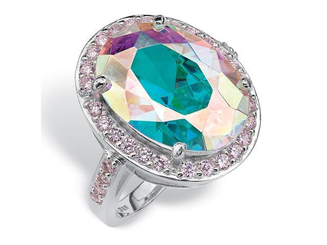 PalmBeach Jewelry 13.57 TCW Oval-Cut Aurora Borealis Cubic Zirconia Cocktail Ring in Sterling Silver