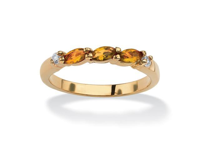 Marquise-Cut Birthstone with Cubic Zirconia 18k Gold-Plated Ring - November- Simulated Citrine-51064123