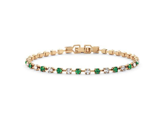 Round Birthstone and Crystal Tennis Bracelet in Yellow Gold Tone - May- Simulated Emerald-4725605