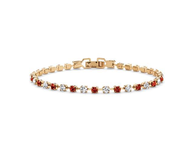 Round Birthstone and Crystal Tennis Bracelet in Yellow Gold Tone - January- Simulated Garnet-4725601