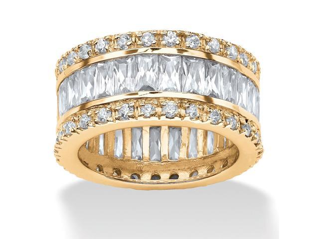 PalmBeach Jewelry 9.34 TCW Round and Emerald-Cut Cubic Zirconia 14k Gold-Plated Eternity Band