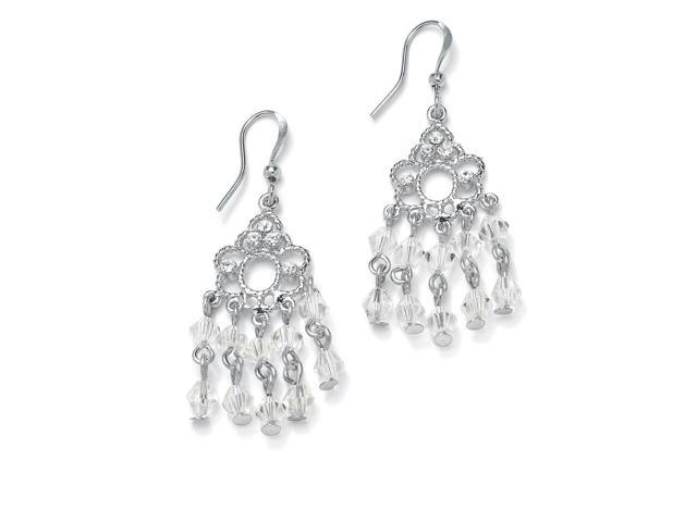 Round Birthstone Silvertone Chandelier Earrings - April- Simulated Diamond-5057804