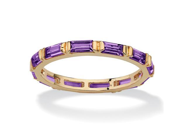 Baguette-Cut Birthstone Eternity Stack Ring 14k Gold-Plated - February- Simulated Amethyst
