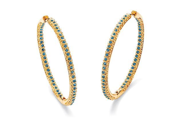 Birthstone 14k Yellow Gold-Plated Inside-Out Hoop Earrings - September- Simulated Sapphire-4973909