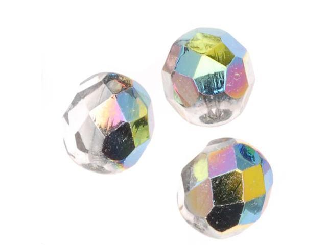 Czech Fire Polished Glass Beads 8mm Round 'Crystal Vitrail' (25)