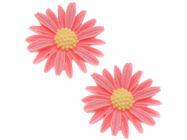 Lucite Flower Cabochons Carved Pink Daisy 27mm (2)