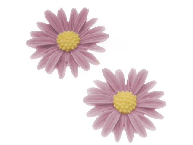 Lucite Flower Cabochons Carved Purple Daisy 27mm (2)
