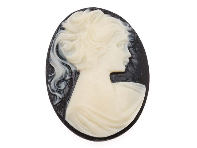 Lucite Oval Cameo Black With Lady'S Profile 40X30mm (1)