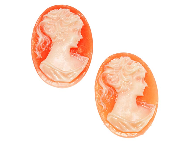 Lucite Oval Cameo Coral With Lady'S Profile 25X18mm (2)