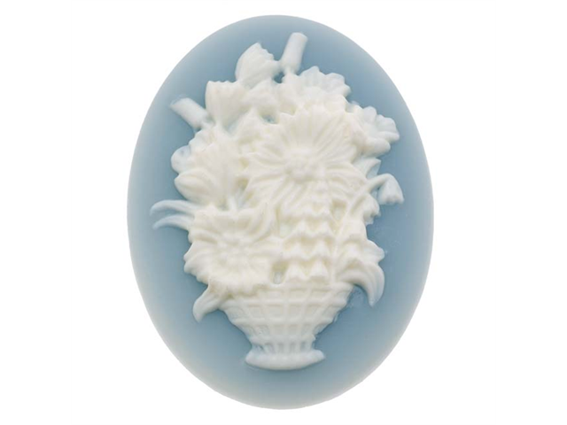 Lucite Oval Cameo Blue W/ White Flower Basket 40X30mm/1