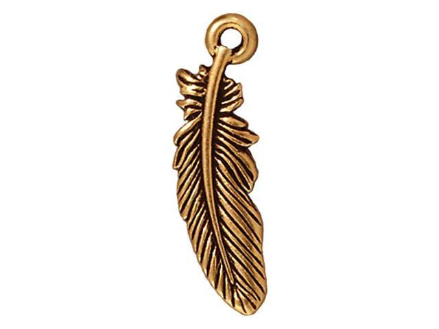 22K Gold Plated Pewter Small Feather Charm 23mm (1)