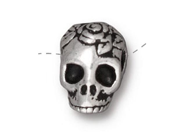 Fine Silver Plated Pewter Skull With Roses Side Drill Spacer Bead 10mm (1)