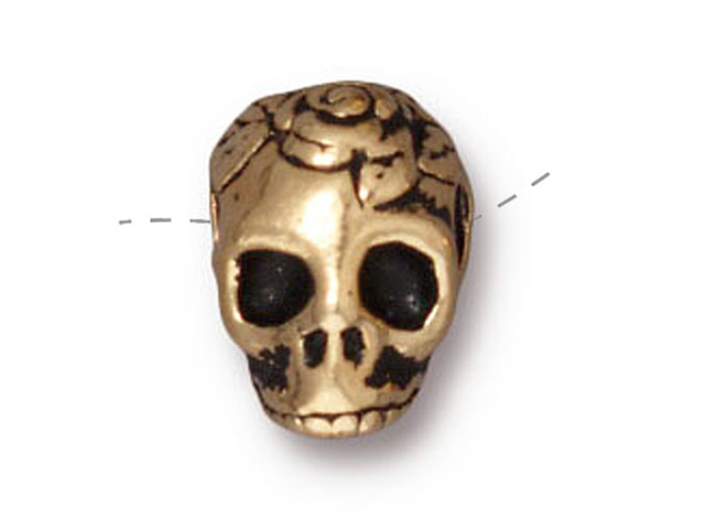 22K Gold Plated Pewter Skull With Roses Side Drill Spacer Bead 10mm (1)