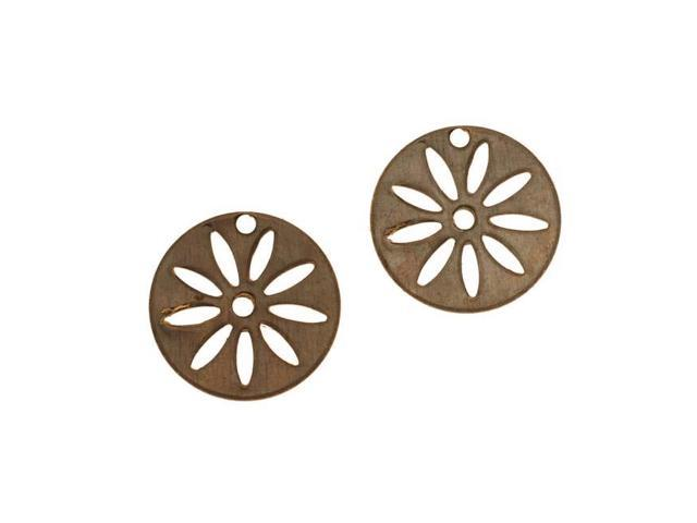 Vintaj  Brass Round Disc Flower Stencil Charms 16mm (2)