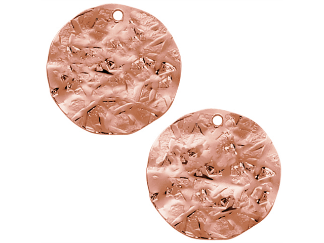 Antiqued Copper Plated Flat Round Textured Disc Pendant Bead 20mm (2)