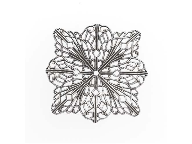 Antiqued Silver Plated Filigree Stamping Square Flower Pendant/1