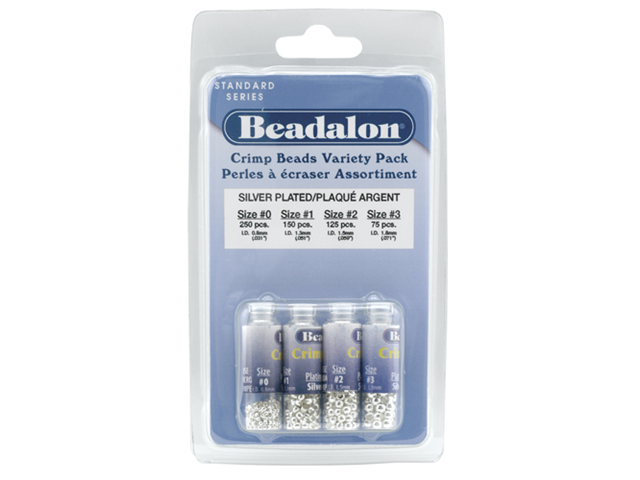 Beadalon Silver Plated Crimp Bead 4 Sizes Mix (600)