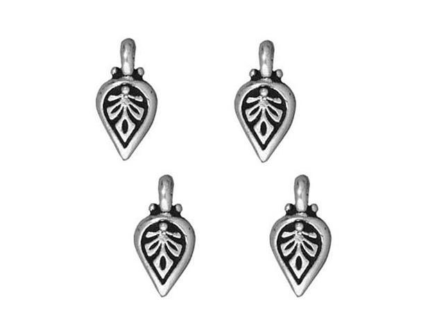 Fine Silver Plated Pewter Palmette Leaf Charm 11mm (4)