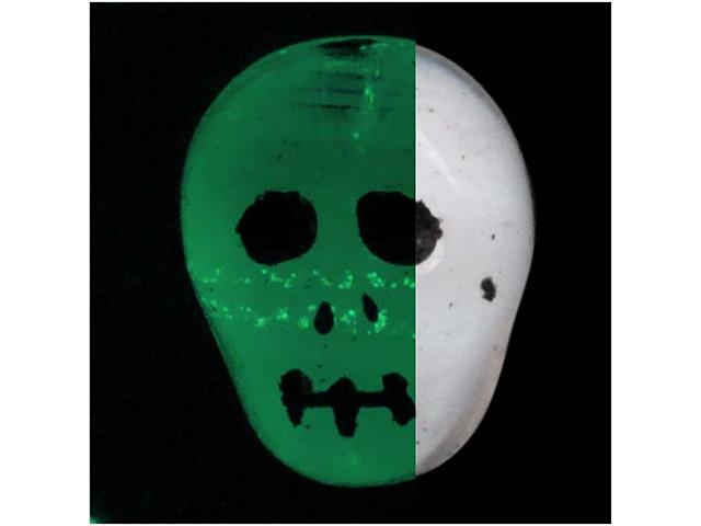 Czech Glass Glow In The Dark Skull Beads Pendant 11.5mm
