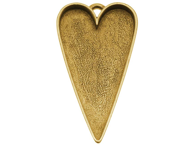 Nunn Design Antiqued Gold Plated Pewter Bezel Large Heart Pendant  2 1/8 Inch