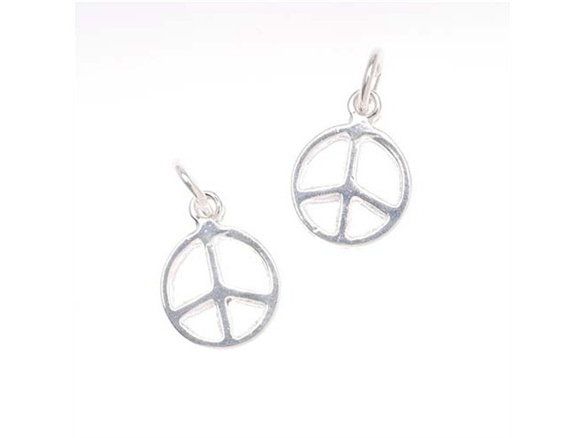Silver Plated Charm Sleek Peace Sign 13mm (2)