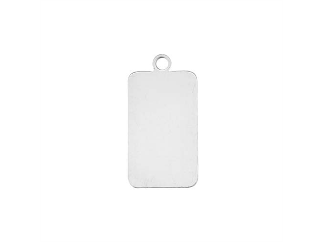 Sterling Silver Stamping Blank, Rectangle With Loop 10.5x18mm, 1 Piece, Silver