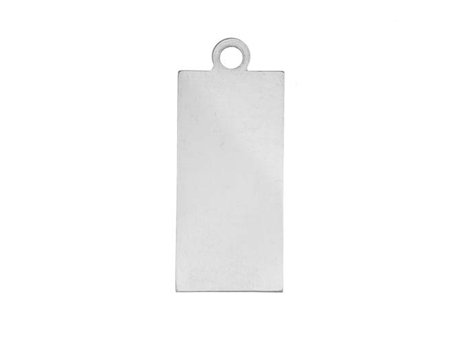 Sterling Silver Stamping Blank, Rectangle With Loop 24.5x11.5mm, 1 Piece, Silver