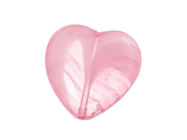 Czech Window Beads 15mm Heart Trans Pink/White Marble/6