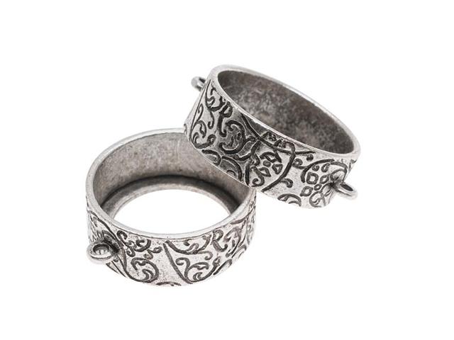 Nunn Design Antiqued Silver Plated Open Bezel Pendant Link 21mm - 1