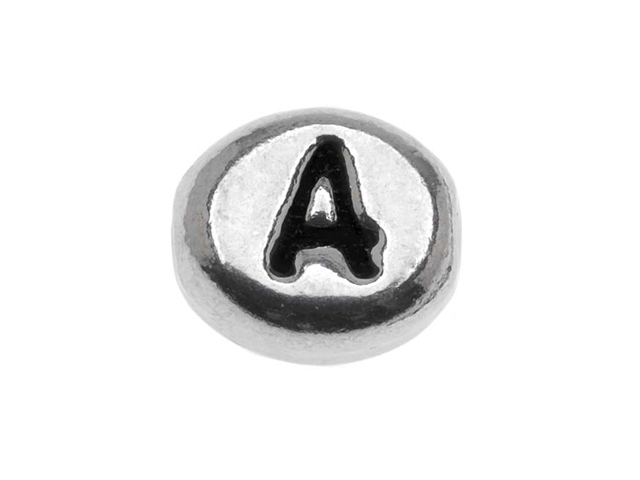 Lead-Free Pewter Alphabet Bead, Letter 'A' 8mm Oval, 1 Piece, Antiqued Silver
