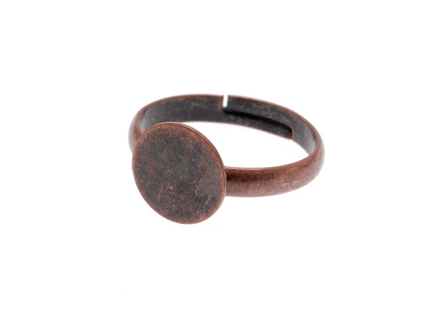 Antiqued Copper Color 10mm Plate Glue On Adjustable Ring - 1 Piece