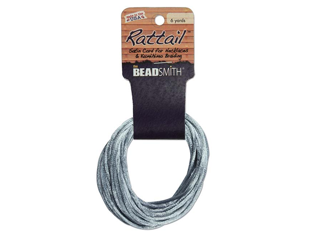 Rayon Satin Rattail Cord 2mm Silver 6 Yd - Knot & Braid