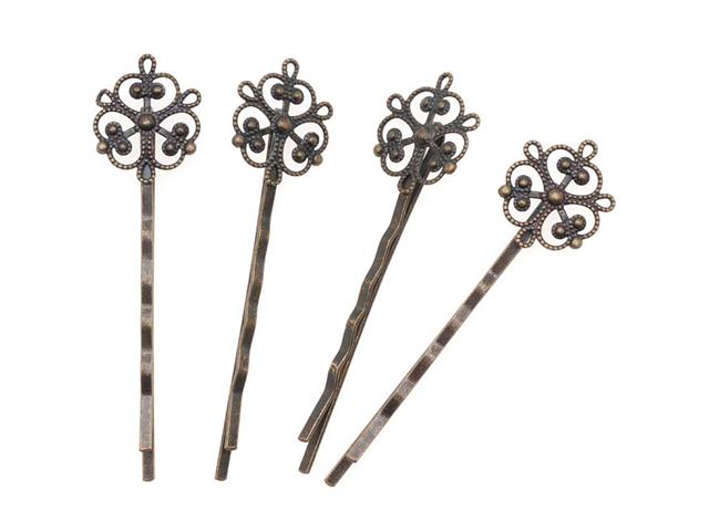 Antq. Brass Color Ornate Filigree Bobby Pins 2 1/2In